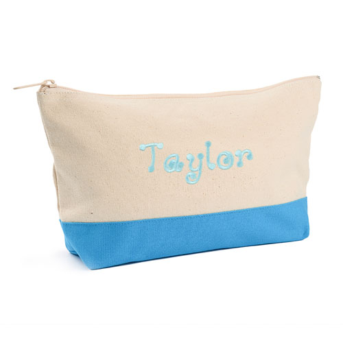 Embroidered Cosmetic Bag with Aqua Trim