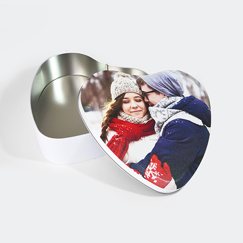 Custom Photo Heart-Shaped Tin Box, Large