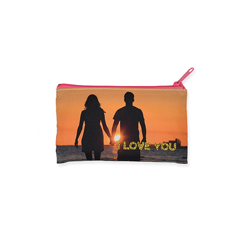 4x7 Personalized Image Glitter Cosmetic Bag, Hot Pink Zipper (Custom 2-sides)