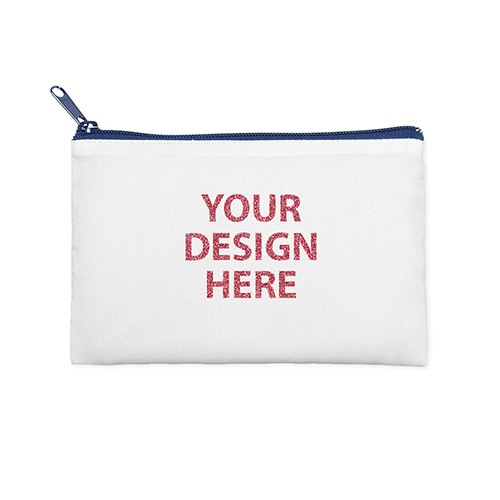 6x9 Custom Printed Glitter Text Cosmetic Bag, Navy Zipper (Custom 2-sides)