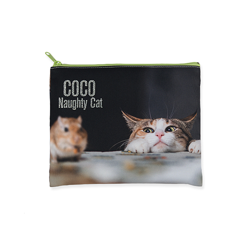 8x10 Glitter Message Photo Cosmetic Bag, Green Zipper (Custom 2-sides)