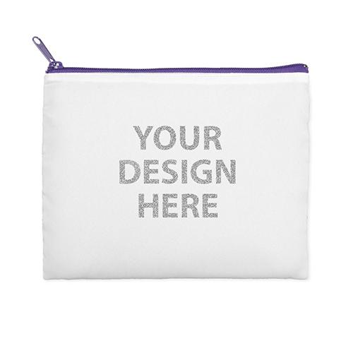 8x10 Glitter Message Photo Cosmetic Bag, Purple Zipper (Custom 2-sides)