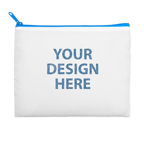 11x14 Custom Photograph Glitter Cosmetic Bag, Blue Zipper (Custom 2-sides)