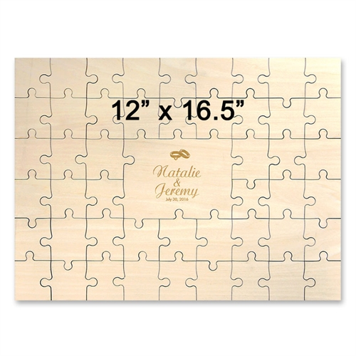 12 x 16.5 Wooden Engraved Jigsaw Puzzle Guestbook (49 pieces)
