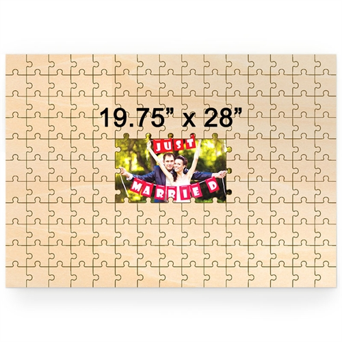 19.75 x 28  Personalized Printed Middle Wooden Guestbook Puzzle (151 pieces)