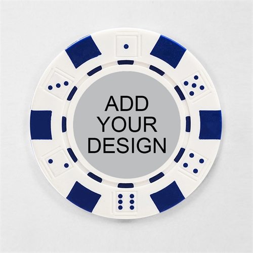 Personalized White Striped Dice Poker Chip