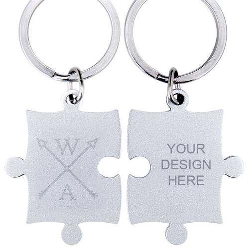Engraved Wedding Arrow Custom Name Puzzle Keychain