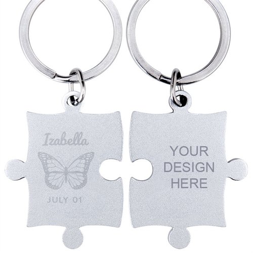 Butterfly Engraved Name Puzzle Keychain