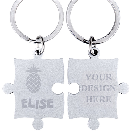 Pineapple Engraved Name Puzzle Keychain