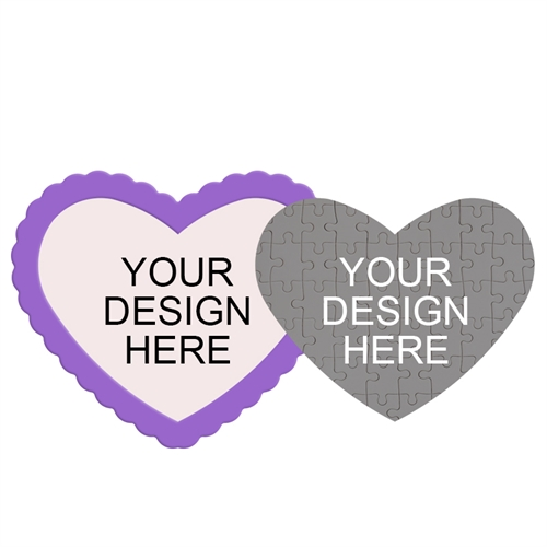 Design Your Own Heart Shaped Magnetic Puzzle With Purple Frame