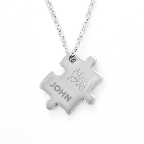 Love Is All You Need Personalized Engraved Puzzle Necklace, Custom Front