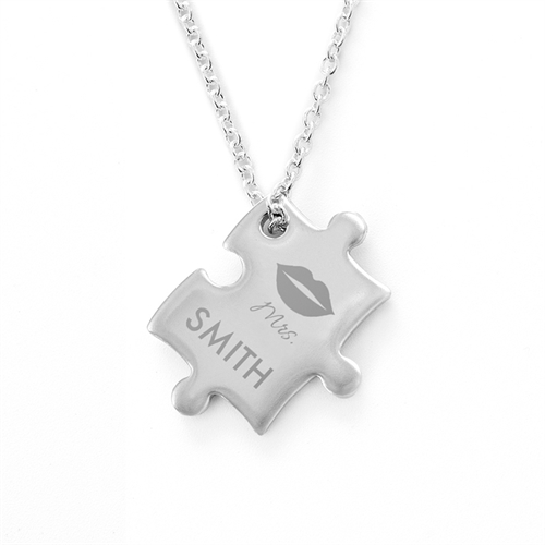 Personalized Mrs Engraved Name Wedding Puzzle Necklace, Custom Front