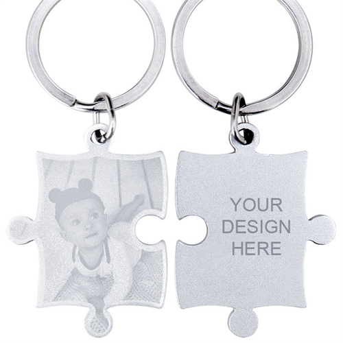 Engraved Photo and Text Puzzle Keyring