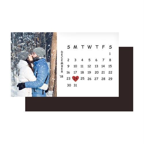 2x3.5 Save the Date Photo Calendar Magnet, White