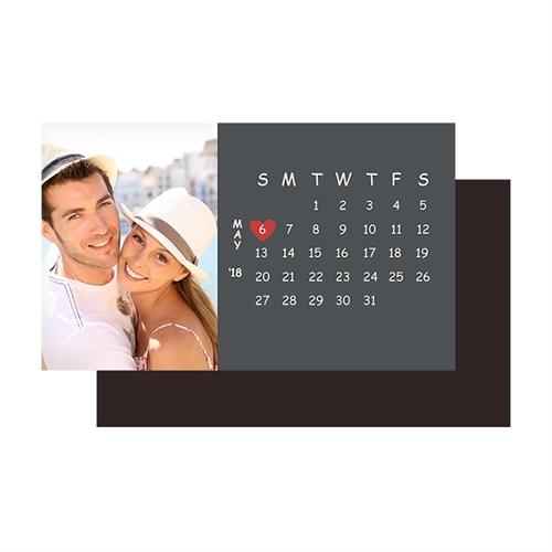 Create Grey Save The Date Photo Calendar 2x3.5 Card Size Magnet