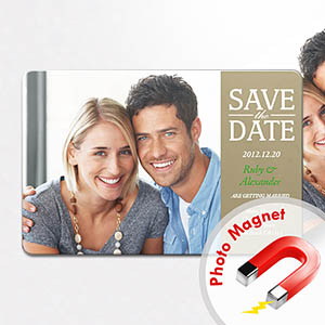 Personalized Fridge 4x6 Large Save The Date Magnets, Timeless Gold