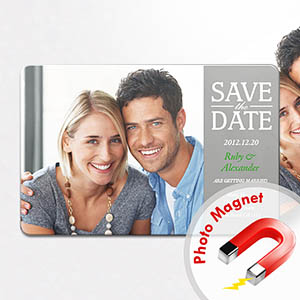 Personalized Fridge 4x6 Large Save The Date Magnets, Silver Grey