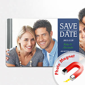 Personalized Fridge 4x6 Large Save The Date Magnets, Blue