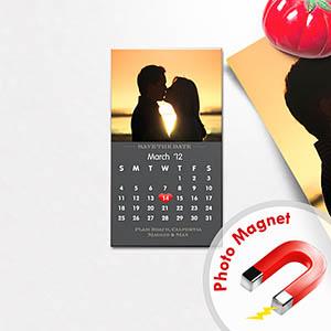 Create Grey Portrait Save The Date 2x3.5 Card Size Magnet Calendar