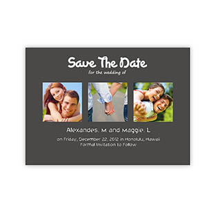 create your own save the date cards puppy love grey