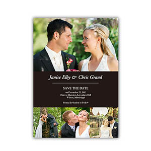 create your own save the date cards black 4 photo collage