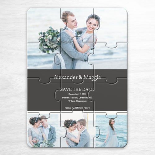 create your own save the date cards grey 4 photo collage
