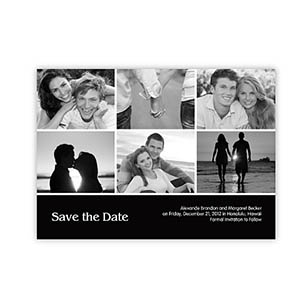 Save the Dates, Black 6 Photo Collage