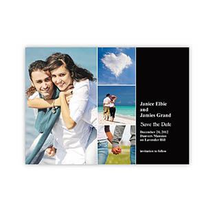 Create Cards For Save The Dates, 4 Pictures Collage Black