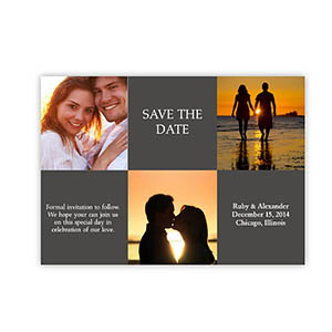 Create Your Own Tie The Knot Cards, 3 Photo Collage Grey