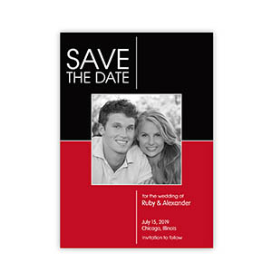 Create Your Own 2 Tones Wedding Announcements, Red & Black Invitations