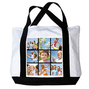 Personalized Nine Black Collage Canvas Tote Bag