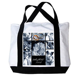 Personalized Eight Black Collage Canvas Tote Bag
