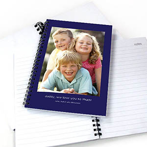 Create Your Own Portrait Photo Blue Two Title Notebook
