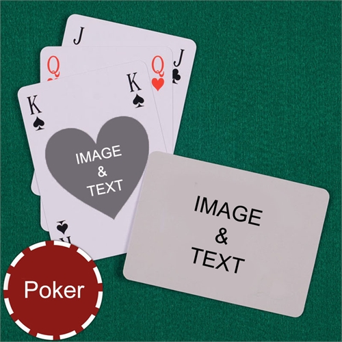 Poker Size Heart Bridge Style Custom 2 Sides Landscape Back