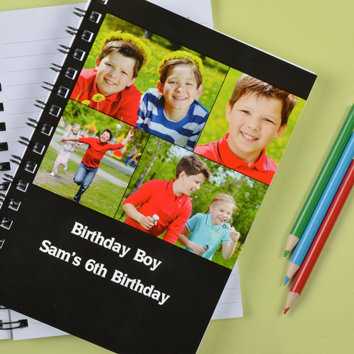 Create Your Own Black Four Collage Two Title Notebook