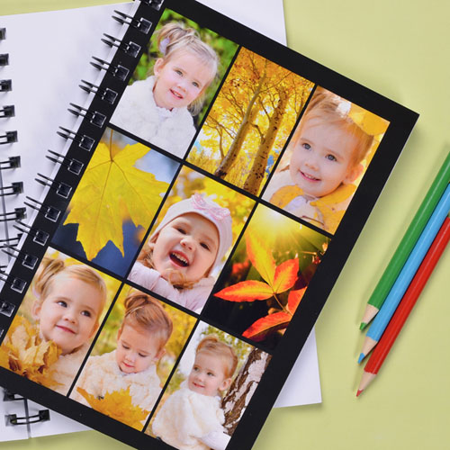 Create Your Own Black Nine Collage Notebook