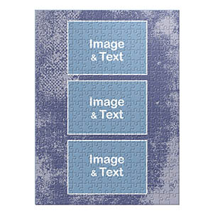 Three Collage Portrait Puzzle, Sky Blue Texture