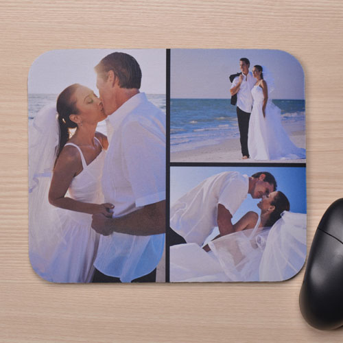 Personalized Black Three Photo Collage Design Mouse Pad