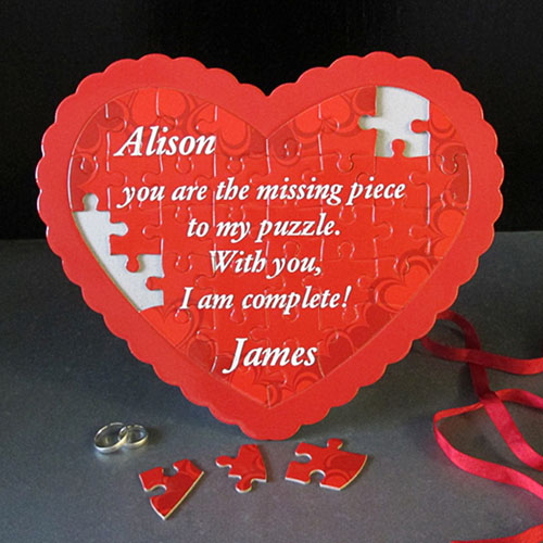 L O V E Personalized Heart Shape Puzzle