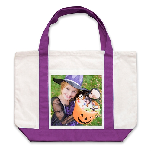 Class Photo Personalized Tote Bag, Purple