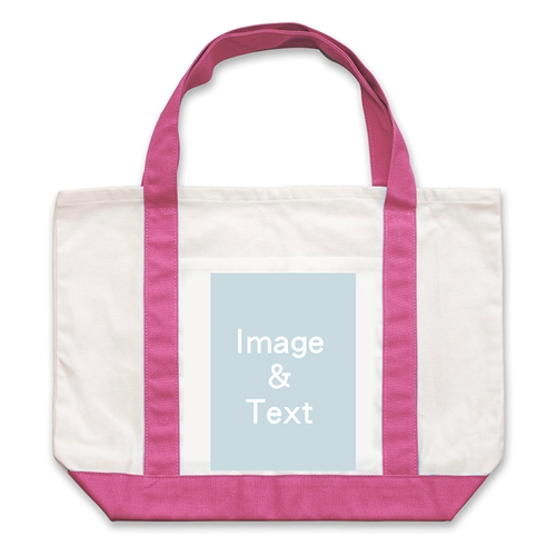 Portrait Photo Personalized Tote Bag, Hot Pink