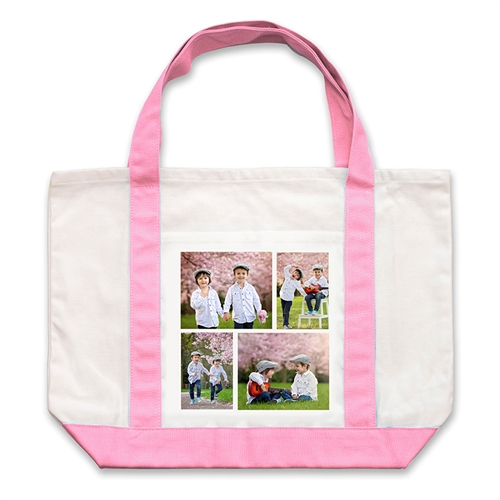 Four White Collage Pink Custom Large Tote Bag