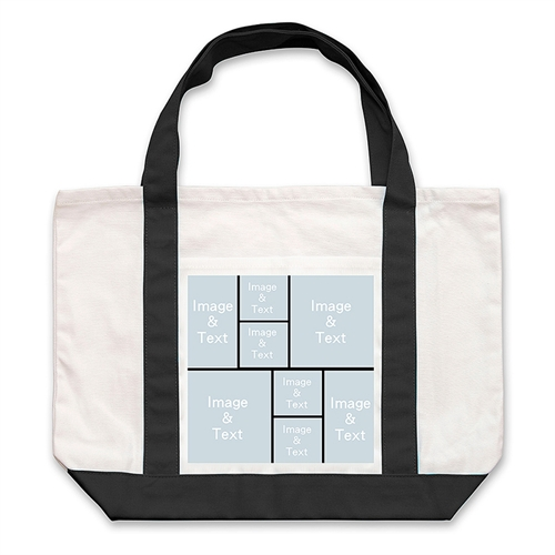 Eight Black Collage Custom Large Tote Bag