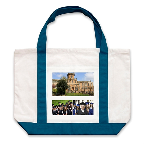 Three White Collage Navy Custom Large Tote Bag