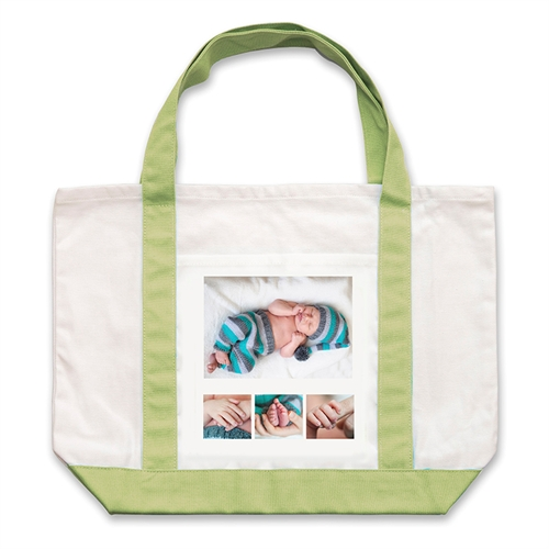Custom Four White Collage Forest Large Tote Bag