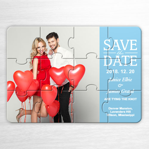 Custom Our Day, Wedding Blue Invitation Puzzle