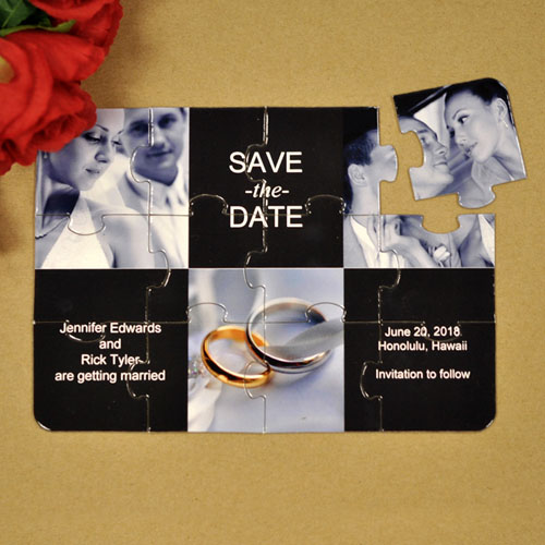 Custom Black Three Collage Invitation Puzzle