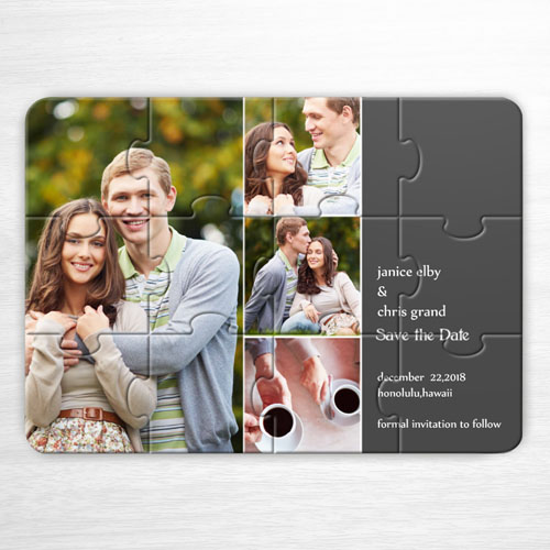 Custom Save The Date Puzzle, 4 Pictures Collage Grey Invitation Puzzle