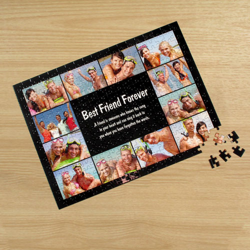 Personalized Facebook Black 12 Collage 12X16.5 Photo Puzzle