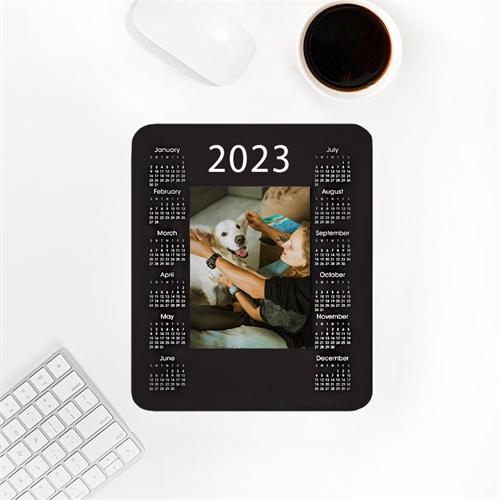 Custom Print Portrait Calendar 2020, Black Mouse Pad